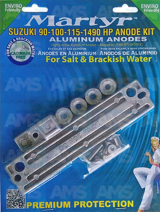 Suzuki 90-100-115-140 HP Anodes Kit Alloy