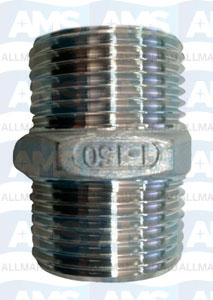 """316 Stainless Hex Nipple 1/8"""" Gas"""